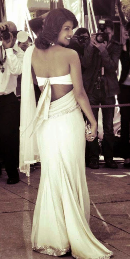 Priyanka Chopra in white backless blouse & saree