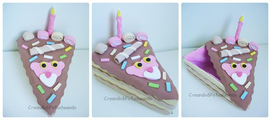 Reto Creativo Cumpleaños: Caja Porcion de Tarta con Carton y Goma ...