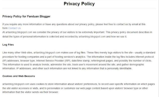 Contoh Halaman atau Kebijakan Privasi Privacy Policy