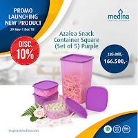 Dusdusan Azalea Snack Container Square (Set of 5) Purple ANDHIMIND