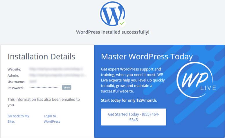 instalasi wordpress berhasil