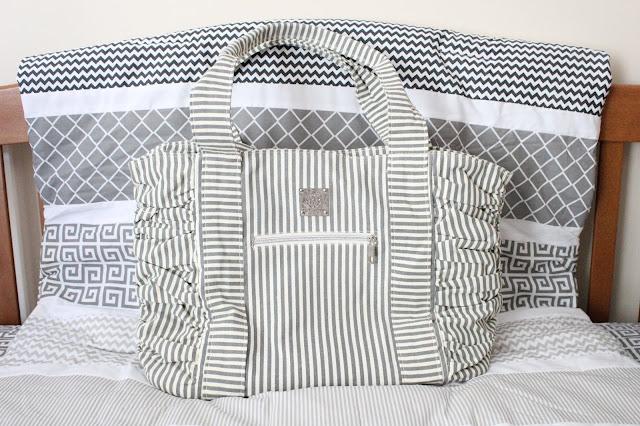 Bella Tunno Diaper Bag, Grey Stripe Diaper Bag