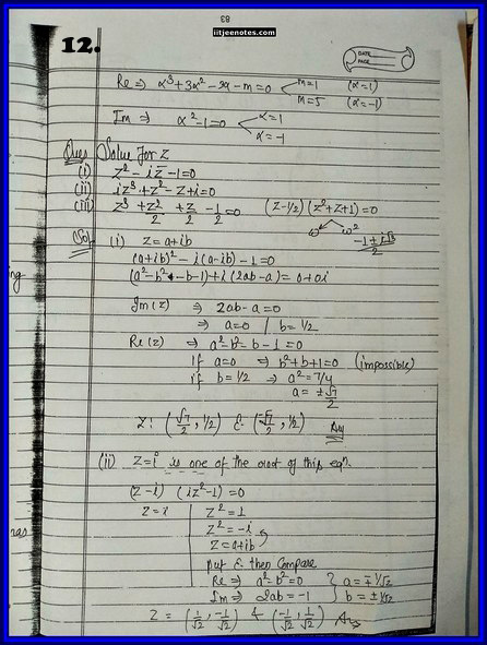 iitjee notes on complex number 12
