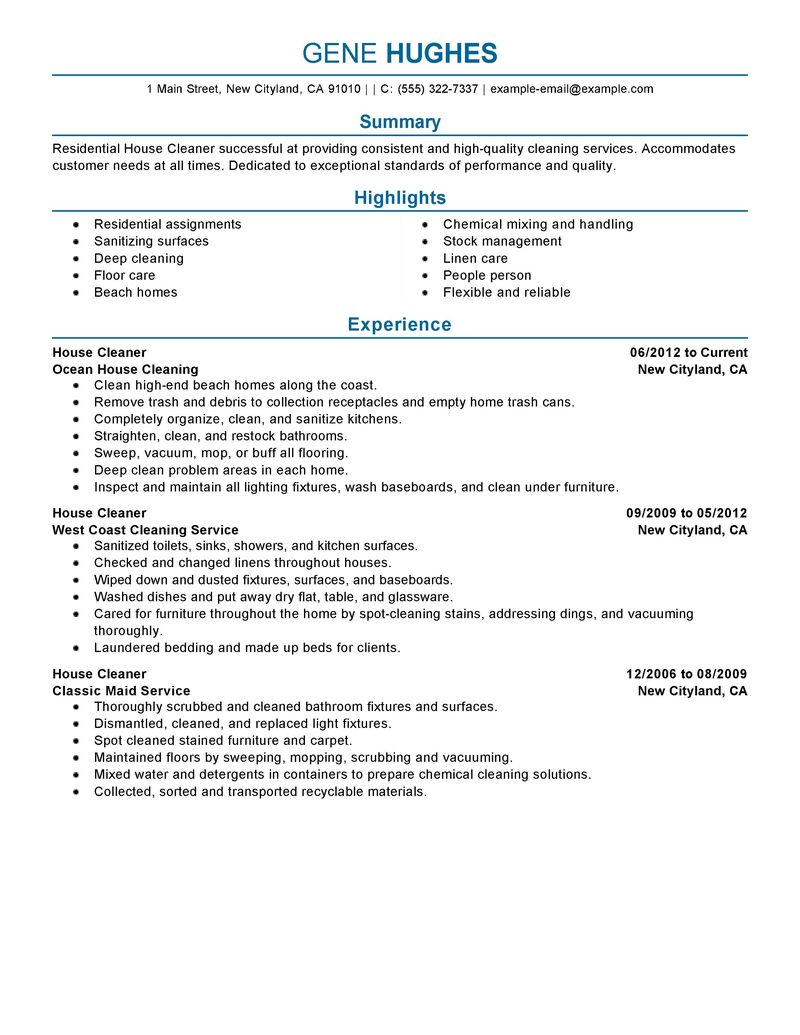 House Cleaning Resume Sample Sample Resumes