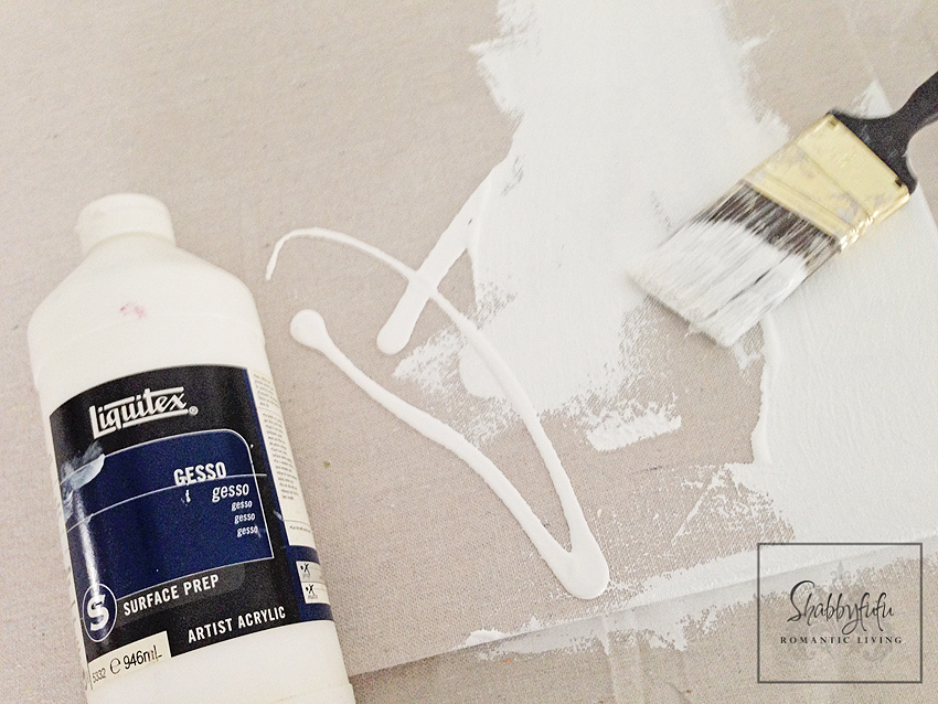 I covered the drop cloth with a coat of white Liquitex Gesso paint to prep the surface of my DIY canvas painting.
