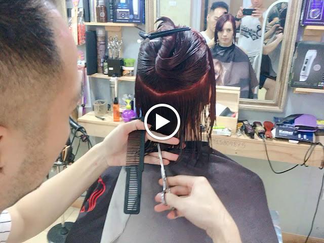 Nhuộm tóc màu đỏ Burgundy cho cô gái Tây Xinh Đẹp | tôn sáng nước da trắ...