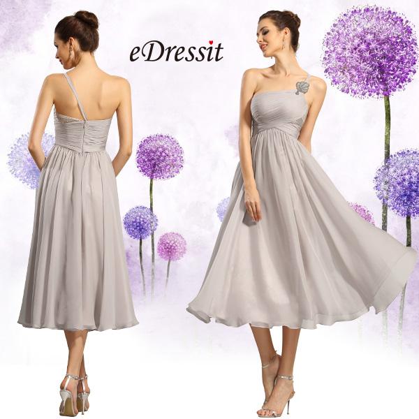 A-line one shoulder empire formal dress