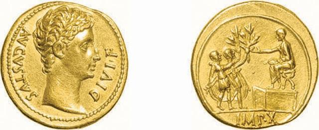 Áureo de Augusto, 14-12 a.C. - Lugdunum - RIC 164a