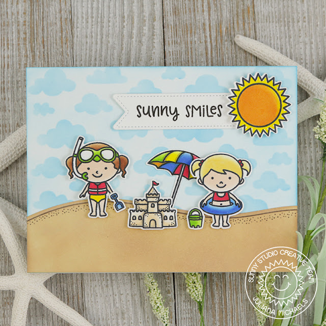 Sunny Studio Stamps: Beach Babies Sunny Smiles Summer Themed Card by Juliana Michaels