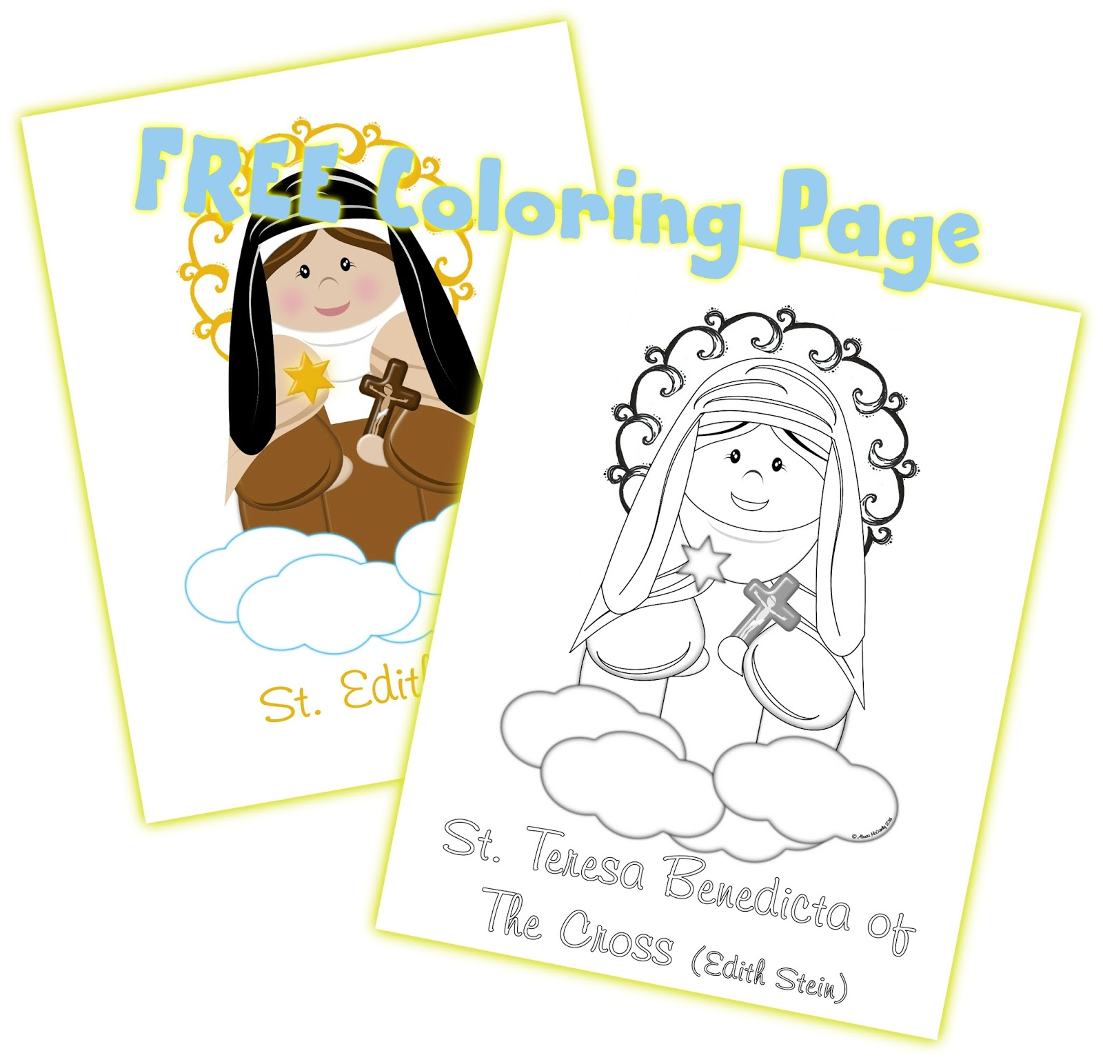 life love u0026 sacred art free coloring page for edith stein