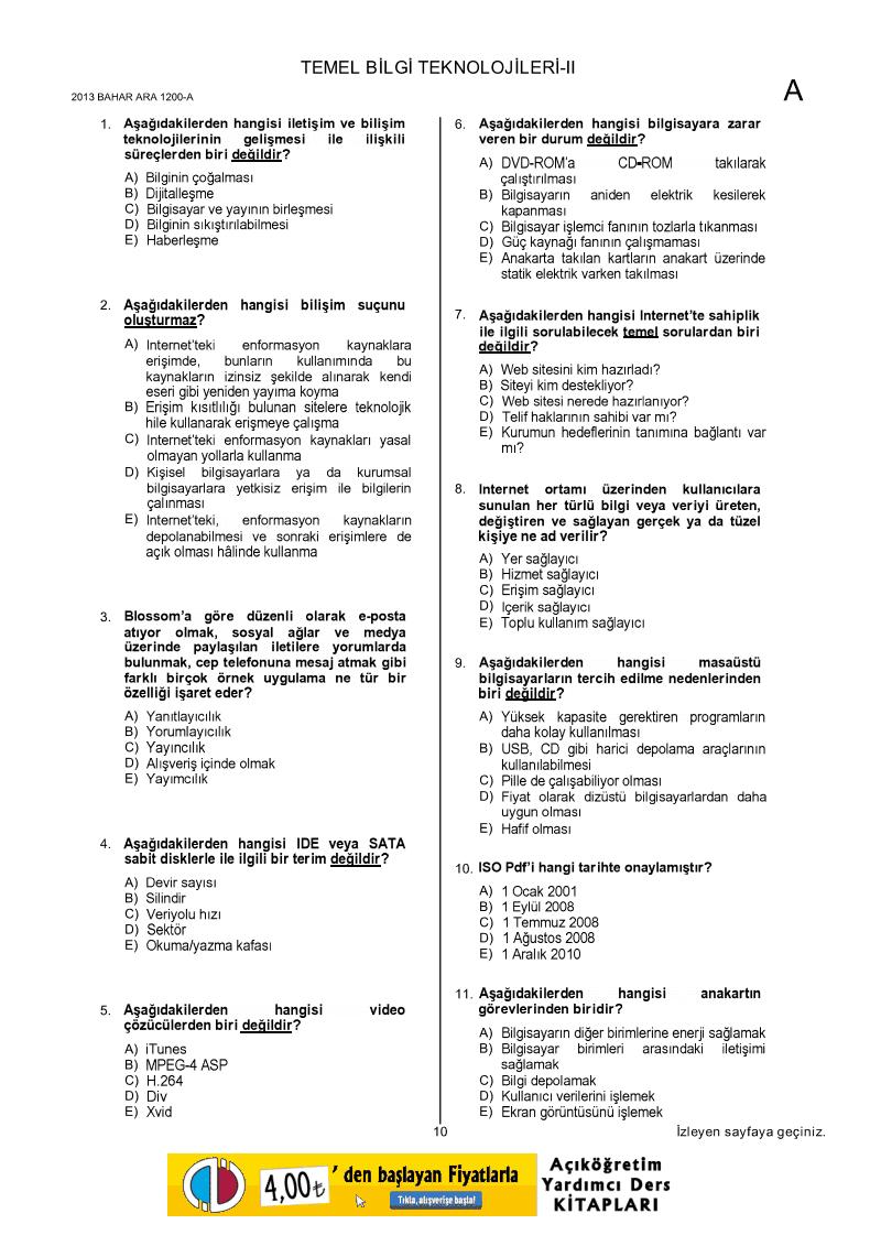 aof ilahiyat donem2 bil102u temel bilgi teknolojileri ii unite 5 8 ders ozetleri ve bil102u cikmis sorulari