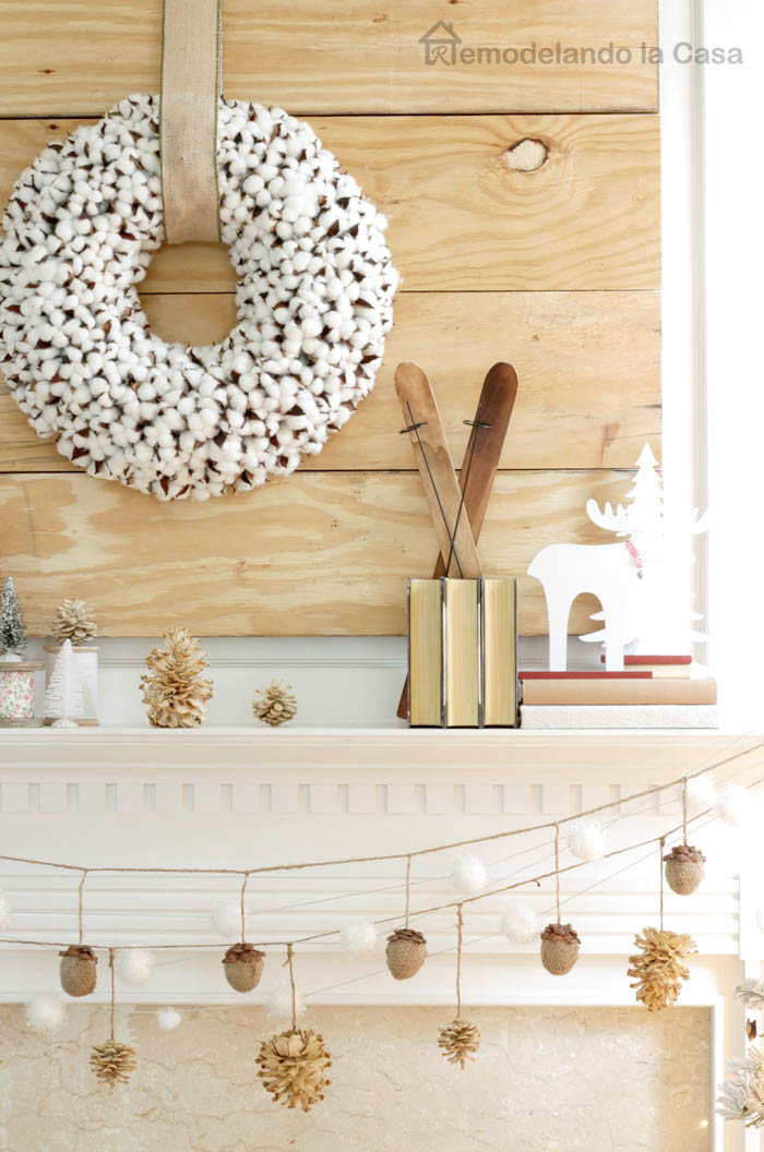 Mantel with wood tone backdrop, little skates and deer figure