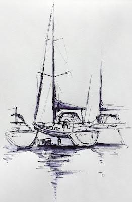 'Yachts, Port Solent' Pen & Ink