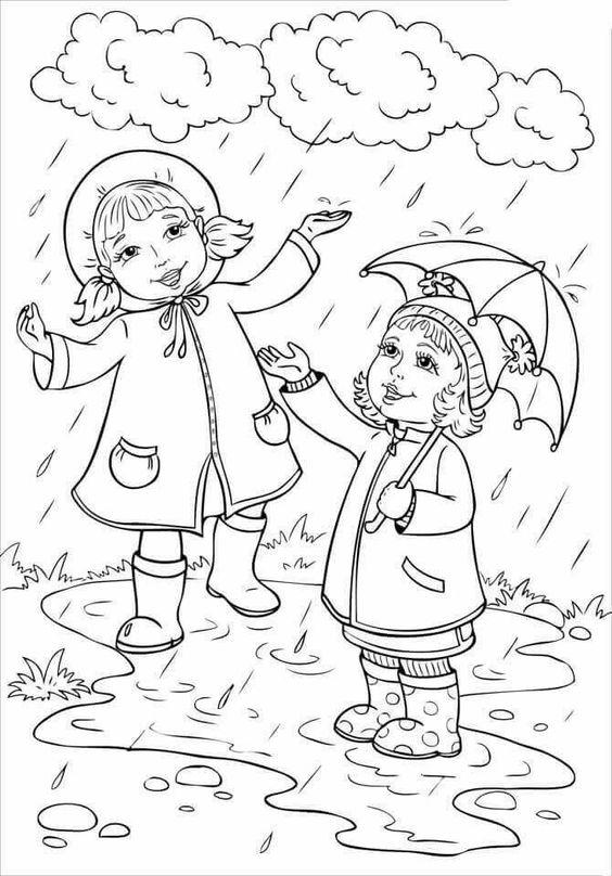 Tranh tô màu bé gái và chơi dưới mưa