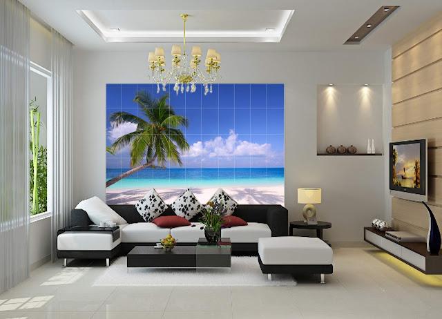 Gạch Tranh 3D Trang Trí Ốp Tường Phòng Khách Đẹp