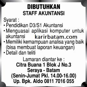 Lowongan Kerja Staff Akuntansi Citra Buana