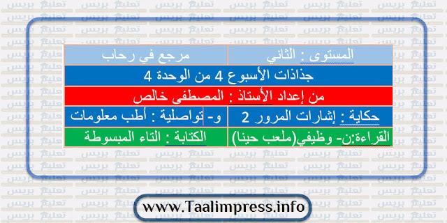 جذاذات الأسبوع الرابع من الوحدة الرابعة في رحاب اللغة العربية للمستوى الثاني ابتدائي