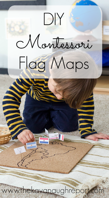 A DIY Montessori flag pin map is a great way to explore both geography and cultures with children.