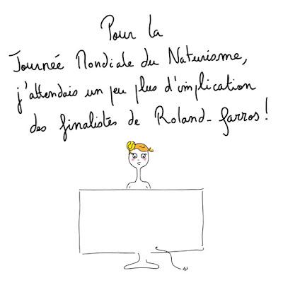 agathe, albane devouge, dessin, humour, illustration, illustratrice, journée mondiale du naturisme, rolland garros, tennis,