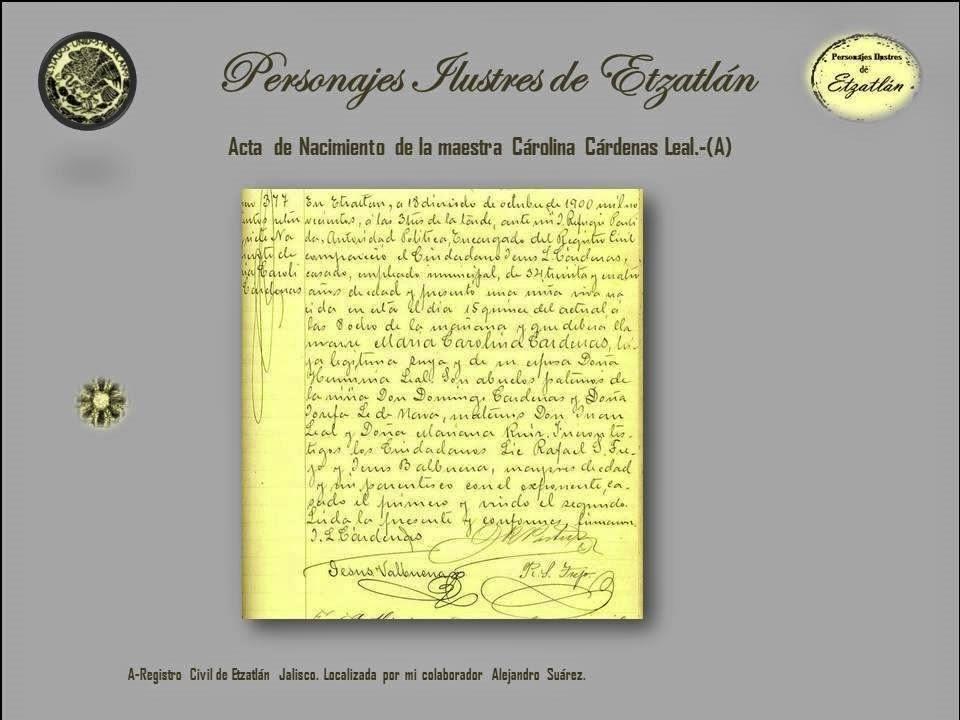 Blog de información de Etzatlán: Carolina Cárdenas Leal 18/abr/14
