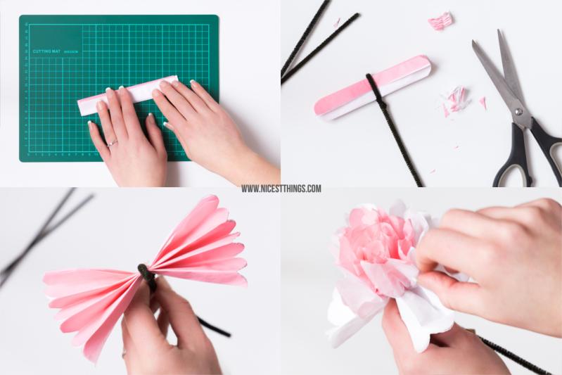 selbstgemachte Papierblumen DIY Blumen aus Seidenpapier