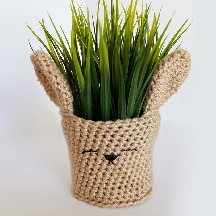 Spring Bunny Crochet Planter Cover | The Inspired Wren