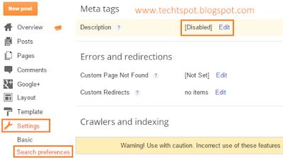 Add Blogger Blog Meta Tag Description