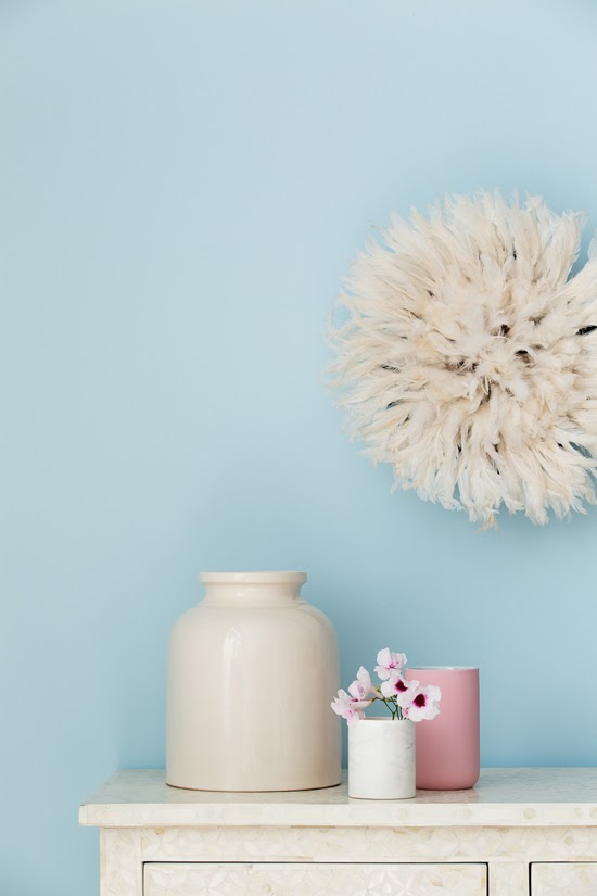 Safari Fusion blog | Haymes + Safari Fusion | The Colour Library Conscious palette - soft, light and airy pinks, blues and greys with Safari Fusion's creamy white Bamileke Feather Headdress [Juju hat]