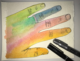 watercolour painted hand, multicolour drawing, two pens