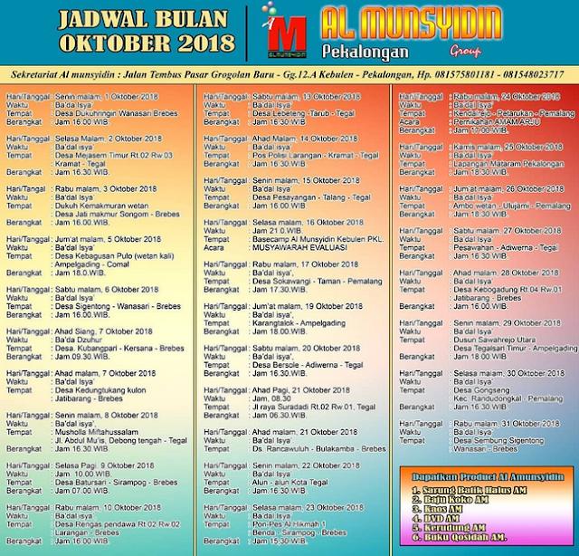 Jadwal  Lengkap Al Munsyidin Oktober 2018