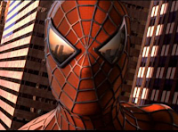 Spiderman con las desaparecidas Torres Gemelas reflejadas en sus lentes
