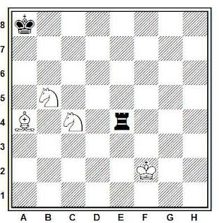 Estudio artístico de ajedrez compuesto por H. Rinck (La Strategie, París 1920)