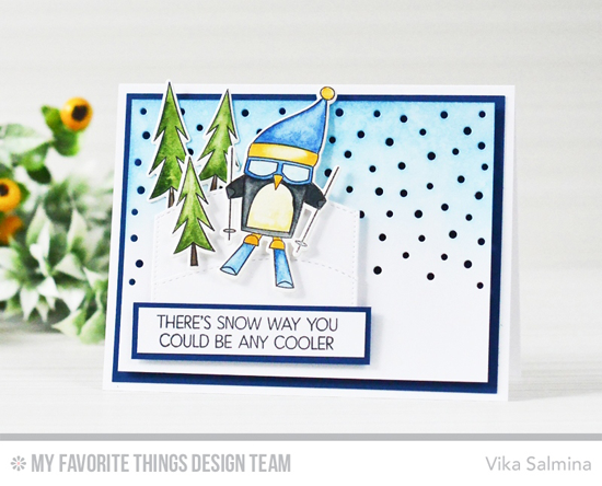 Handmade card from Vika Salmina featuring Chill Wishes stamp set and Die-namics, Downhill Slope and Snowfall - Horizontal Die-namics #mftstamps