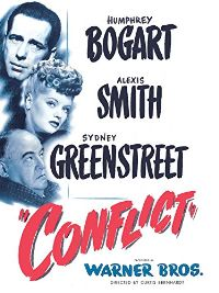 Humphrey Bogart, Alexis Smith and Sydney Greenstreet, film, movie, conflict, 1945 murder mystery, noir, suspense, warner brothers, black-and-white