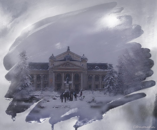 Iași - Teatrul Național V.Alecsandri (framing prin elemente naturale) - blog FOTO-IDEEA