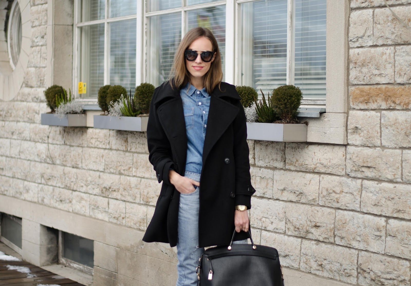 kristjaana mere pea coat denim shirt boyfriend jeans winter look