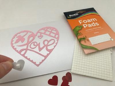 Bostik foam pads to add depth to a craft