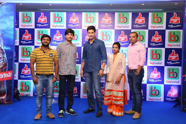 bigbasketeers thrilled to meet Superstar Mahesh Babu after winning a Thums Up contest