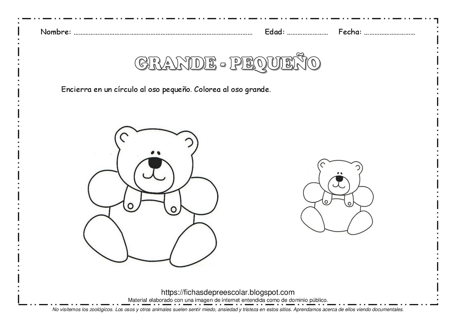 Fichas De Educacion Preescolar Conceptos Basicos Grande