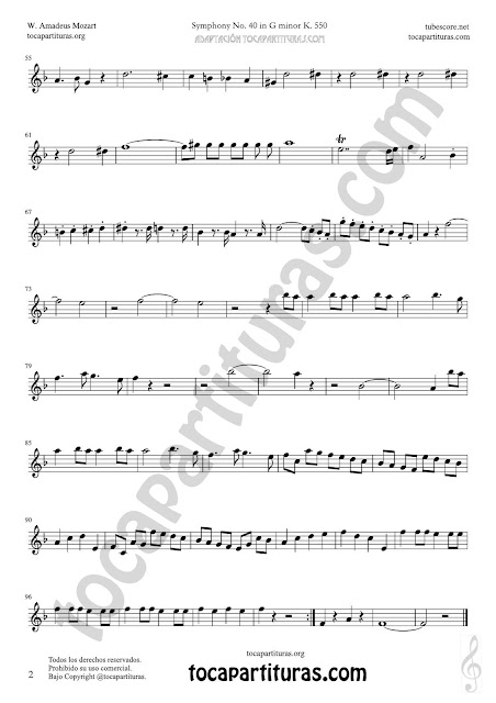 Hoja 2 Corno Inglés Partitura de Sinfonía Nº 40 English horn Sheet Music for French Horn Music Scores
