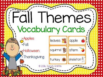 https://www.teacherspayteachers.com/Product/Fall-Vocabulary-Word-Cards-Polka-Dots-803456