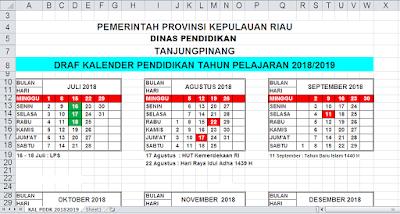 Download Kalender Pendidikan Tahun Ajaran 2018/2019 Kepulauan Riau