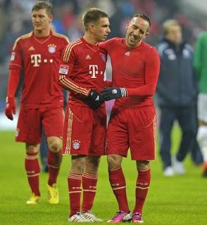 Bastian Schweinsteiger, Philipp Lahm, & Franck Ribery dari Bayern Munchen