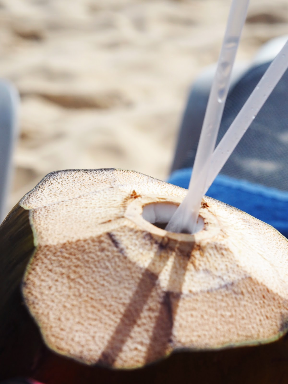 Fresh Coconut Water with a straw