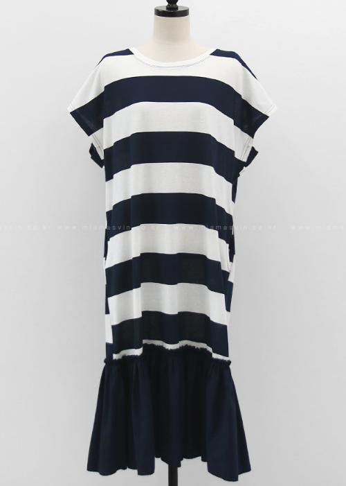Flounce Hem Striped Dress