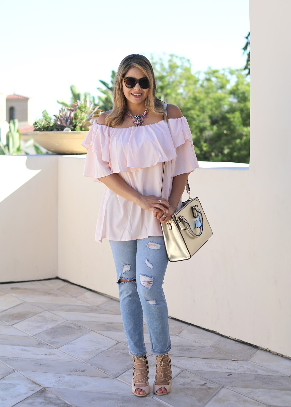 Off the shoulder blush top, how to wear an off the shoulder top, san diego fashion blogger, san diego style blogger