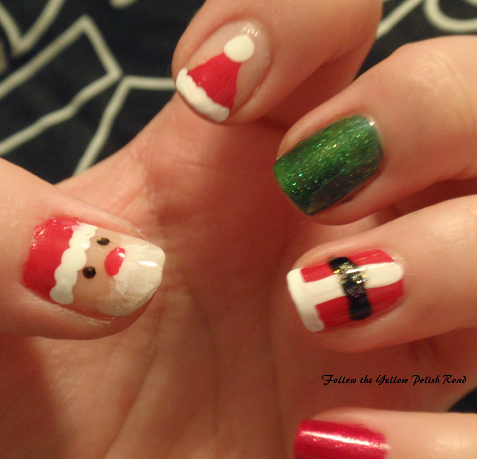 Christmas Nails Not Acrylic: Follow The Yellow Polish Road: Santa Christmas Nails