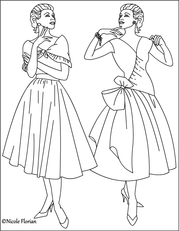 Vintage Fashion Coloring Pages Download