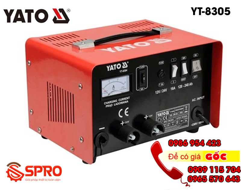 Máy sạc bình ắc quy, máy nạp bình điện ắc quy xe máy, ô tô YATO YT-8305