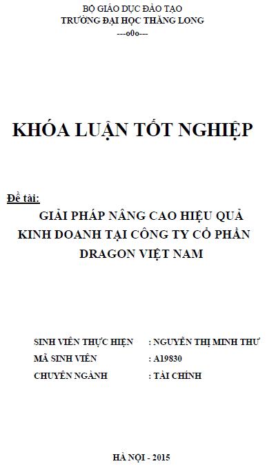 Giải pháp nâng cao hiệu quả kinh doanh tại Công ty Cổ phần Dragon Việt Nam